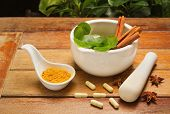 Mortar And Pestle With Herb And Pills