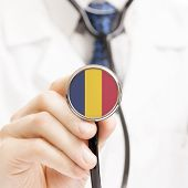 image of chad  - National flag on stethoscope conceptual series  - JPG