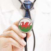 National Flag On Stethoscope Conceptual Series - Wales