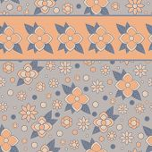 Floral Seamless Pattern With Stripe