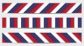 Collection Of 3 Striped Banners In Blue, White And Red
