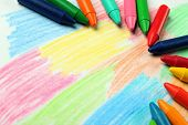 Oil Pastel Crayons Lying On A Paper