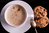 Cup Of Cappuccino With Cookies