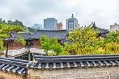 image of korean  - Traditional old and modern korean houses cityscape at autumn in South Korea - JPG
