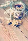 Hand Made Oatmeal Cookies In A Jar In A Vintage Style