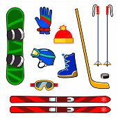 stock photo of ski boots  - Winter sports equipment icons set with snowboard - JPG