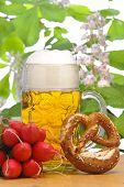big glass of bavarian lager beer