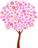 Isolated Pink Spring Tree Vector, Pink Flowers Tree Illustration