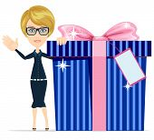 Girl with a great gift, vector illustration