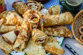 Wide Shrovetide. Pancakes, Folded Tube