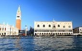 Ducal Palace And The Bell Tower Of Saint Mark In Venice Italy