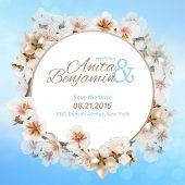 stock photo of sakura  - invitation to the wedding - JPG