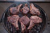 Big Beef Steaks On Bone Grilled  Barbecue