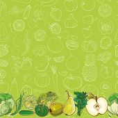 Set Of Green Fruits And Vegetables On Light Green Seamless Vector Pattern