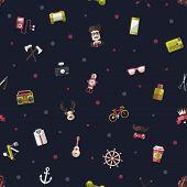 Pattern illustration of modern flat design hipster icons