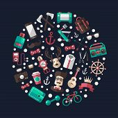 Circle illustration of modern flat design hipster icons