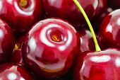 Sweet Red Cherries As Background, Macro Shot