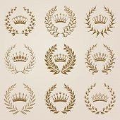 image of laurel  - Set of vector golden laurel wreaths - JPG