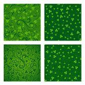 Set Of Green Clover Patterns