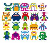 Vector Cartoon Set Of Different Monsters Isolated