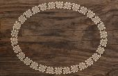 celtic border knotwork ornament old wooden background