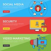 Flat Design Concept For Social Media, Security, Video Marketing