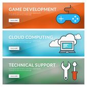 Flat Design Concept For Game Development, Cloud Computing, Technical Support