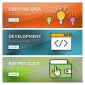 Flat Design Concept For Creative Idea, Development, Pay Per Click