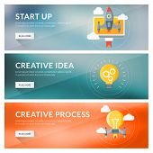 Flat Design Concept For Start Up, Creative Idea, Creative Process