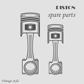 picture of piston-rod  - Vector illustration drawn by the piston on a white isolated background - JPG