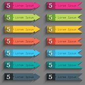 Number Five Icon Sign. Set Of Coloured Buttons. Vector