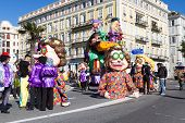 NICE, FRANCE - FEBRUARY 22: Carnival of Nice in French Riviera. The theme for 2015 was King of Music