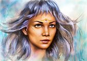 Beautiful Painting Portrait Of A Young Enchanting Woman Warrior With White Silver Hair Make Up Ornam