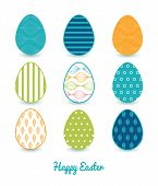 Vector colorful horizontal ogee set of nine colorful Easter eggs card template