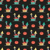 picture of covenant  - Seamless pattern with houses and pumpkins halloween vector background - JPG