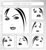 beautiful women faces collection on white, vector illustration