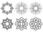 Set Of Six Black Circular Stencils