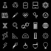 Science Line Icons On Black Background