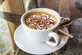 pic of latte  - Cappuccino or latte coffee with flower shape - JPG