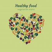 Healthy heart of vegetables.