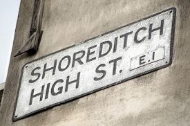 stock photo of hackney  - Road sign for Shoreditch High Street - JPG