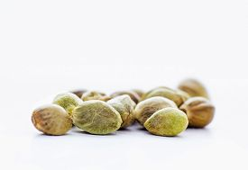 stock photo of seed bearing  - Close view of hemp seeds in a white background - JPG