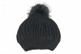 stock photo of pom poms  - Black Knitted Wool Winter Ski Hat with Pom Pom Isolated On White Background - JPG