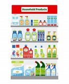 stock photo of personal hygiene  - Showcase with household cleaning and hygiene items vector illustration - JPG