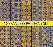 picture of ten  - Set of vintage geometric seamless patterns - JPG