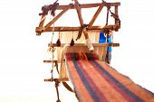 stock photo of nomads  - Traditional loom and homespun fabric in a Bedouin village Egypt - JPG