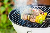 picture of meatball  - grilled meatballs with vegetables - JPG