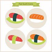 foto of sushi  - Flat Sushi Set Circle Icons - JPG