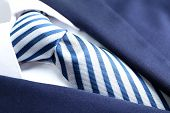 foto of coat tie  - Male jacket with shirt and tie close up - JPG