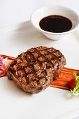 stock photo of chateaubriand  - meat steak with sauce - JPG